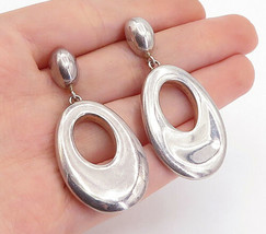 925 Sterling Silver - Vintage Shiny Smooth Oval Linked Dangle Earrings -... - $31.04