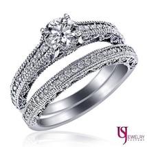 1.16 TCW Round Cut Solitaire Diamond Engagement Wedding Bands Set 14k Wh... - €2.449,98 EUR