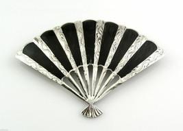 BIG Vintage 1950s 60s SIAM Handmade Sterling & Niello FAN Design Brooch PIN - $95.00