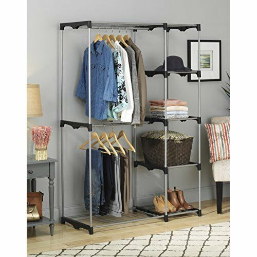 Closet Storage Organizer: 5 Shelves 2 Garment Rods Portable Free Standing