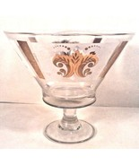 "VINTAGE PAMPERED CHEF GLASS PUNCH BOWL PEDESTAL GOLD PATTERN 10.5"" D X 9.5"" - $22.95"