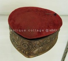 antique victorian HEART DRESSER SEWING BOX w PIN CUSHION LID repousse su... - $224.95