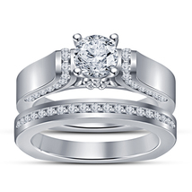 Women's Bridal Engagement Ring Set In White Gold Plated 925 Silver Round Cut CZ - $92.99
