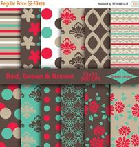 Red digital paper, green damask, floral background, beige stripes, brown... - $2.43