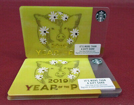 Lot of 7 Starbucks 2019 YEAR OF THE PIG Gift Cards New with Tags - $14.77