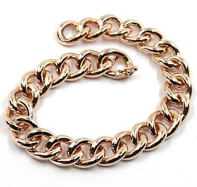 18K ROSE GOLD BRACELET ONDULATE ROUNDED GOURMETTE CUBAN CURB LINKS 9.5 mm, 18cm