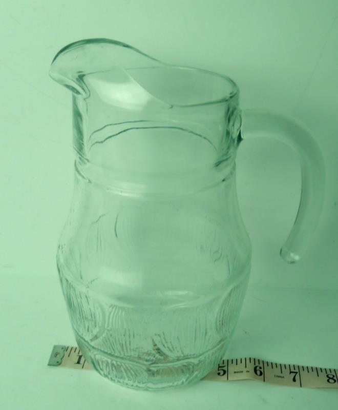 French clear glass textured juice pitcher Vintage France