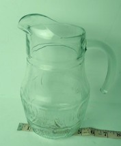 French clear glass textured juice pitcher Vintage France - $23.71