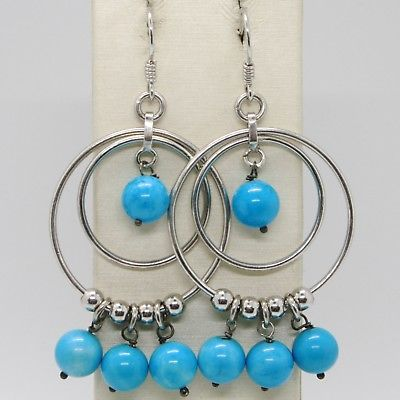 SOLID 925 STERLING SILVER PENDANT HOOK EARRINGS WITH CIRCLE AND TURQUOISE BALL