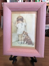 Wall Hanging Framed Art Girl With Dog In A Corner - $18.12
