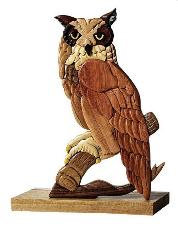 Primary image for Great Horned Owl Bird Intarsia Wood Table Top Home Decor Lodge New