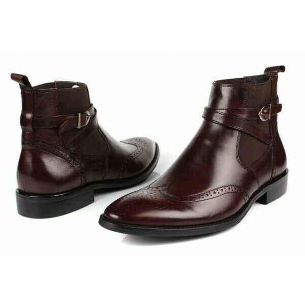 Brown Single Monk Rounded Buckle Strap Wing Tip Brogue Toe Leather Ankle Boots image 3