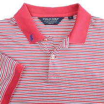 Polo Golf Pro Fit Pink White Blue Stripe Short Sleeve Golf Polo Shirt Mens Large - $19.65