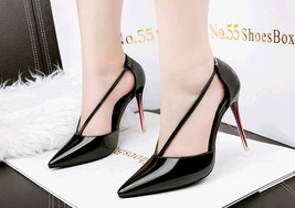 ps349 Elegant pointy stappy sandals, high heel, candy color,US Size 4-8.5, black - $48.80