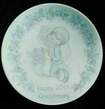 """Vintage 1989 Precious MOMENTS-HAPPY 25th Anniversary Mini PLATE--4""""--ENESCO - $11.00"""