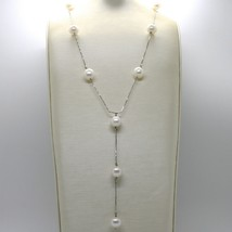 18K WHITE GOLD LARIAT NECKLACE, VENETIAN CHAIN ALTERNATE WITH WHITE PEARLS 10 MM image 2