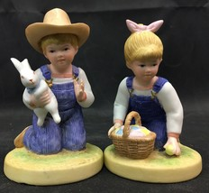 Homco Denim Days #1521, Easter Time Danny w/ Bunny, Debbie with eggs in ... - $12.00