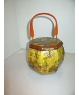 Vintage Anton Pieck Decoupage Octagon Box Purse-Lucite Handle - $29.95