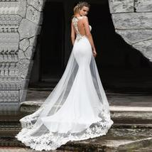 Elegant illusion Lace Appliques Custom Made Mermaid Wedding Dress Wedding Gown image 2
