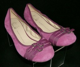 Franco Sarto 'Ariana' purple suede buckle round toe slip on ballet flats 10M - $33.30