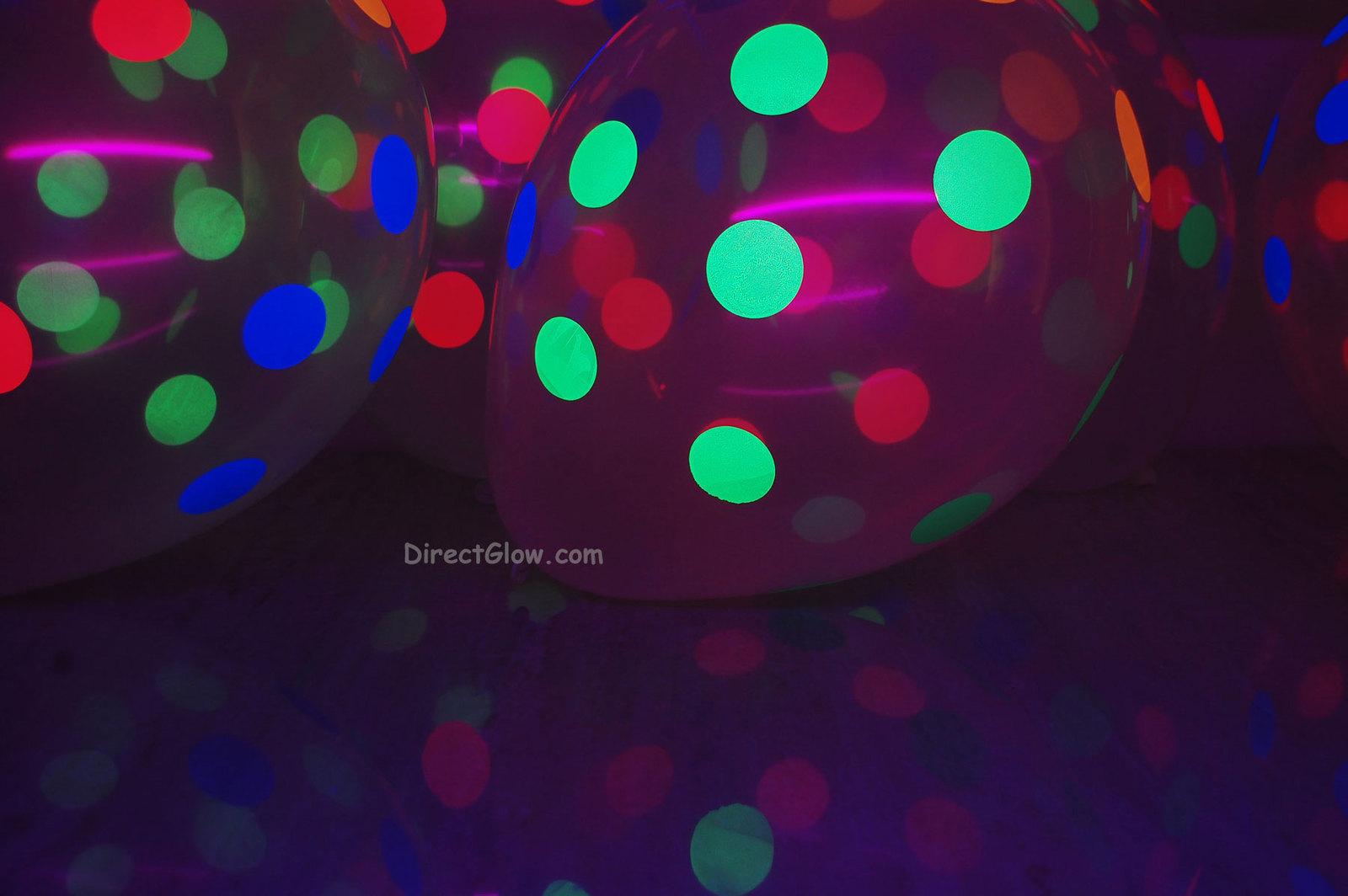 100 Pack Clear Latex 11 inch UV Blacklight Reactive Neon Polka Dot Balloons