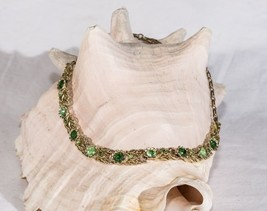 Vintage necklace estate Coro emerald green rhinestone floral collar  - $42.57