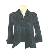 IC Connie K Med Lagenlook Jacket Black Blue Woven Plaid High Low Swing 3... - $44.95