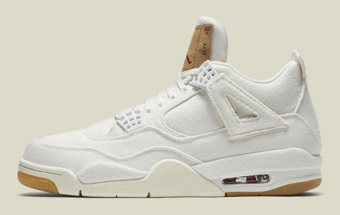 57aadcd0d50 Levi's X Air Jordan 4 Retro Sneakers NRG White Denim Shoes AO2571-100 Size  11.5