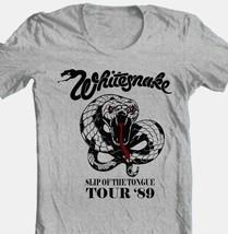 WhitesnakeTour T-shirt 80s heavy metal classic rock grey cotton retro style tee image 1