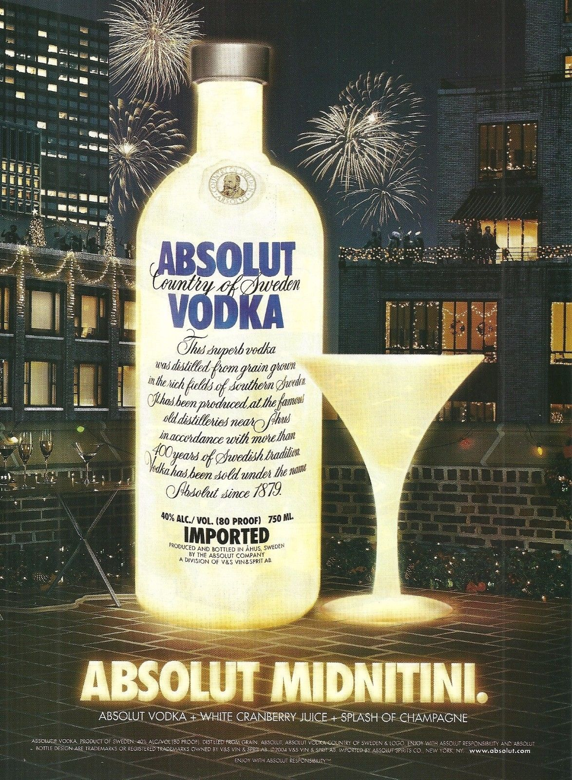 Primary image for ABSOLUT MIDNITINI Vodka Magazine Ad