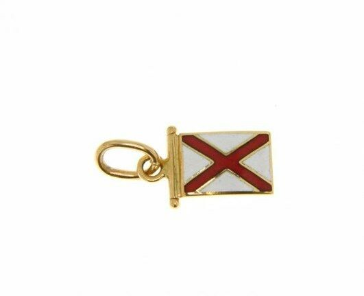 18K YELLOW GOLD NAUTICAL GLAZED FLAG LETTER V PENDANT CHARM MEDAL ENAMEL ITALY