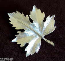 VTG Fall Leaf Figural PIN Brushed silvertone Statement Brooch Rhinestone Accent - $19.76