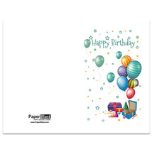Balloons and Gifts Birthday Card --- with Custom Handwritten Message - mailed... - $2.23