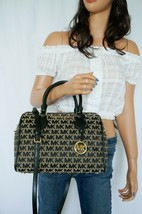 MICHAEL KORS BEDFORD L JACQUARD LEATHER SATCHEL DUFFLE SHOULDER BAG BEIG... - $118.79