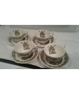 4 Flat Cups & 4 Saucers Set Merry Christmas by JOHNSON BROTHERS MADE IN ... - $99.95