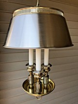Vintage Two Tone Silver and Gold Bouillotte Tole Triple Candlestick Swag... - $224.95