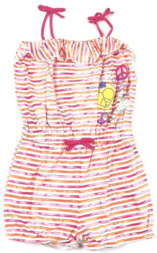 Girl's 4-6 Romper XOXO Striped with Peace Signs and Hearts CUTE!