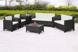 XL Outdoor Brown Rattan Sofa Set Contemporary Garden Sofa Chair Table Patio Set image 4