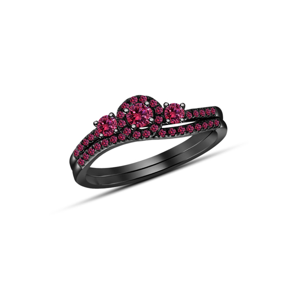 14k Black Gold Plated 925 Silver Round Cut Pink Sapphire Bridal Wedding Ring Set