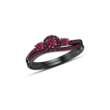 14k Black Gold Plated 925 Silver Round Cut Pink Sapphire Bridal Wedding Ring Set image 1