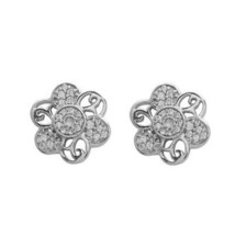 White Topaz Round Flower Design 925 Sterling Silver Party Wear Stud SHER... - $14.24