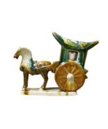 Chinese Tri-Color Ceramic Horse Cart Figure cs2386 - $220.00