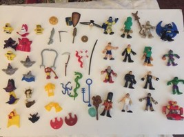 Huge Lot of Imaginext Figures. Hats Swords MIsc Pieces 54 plus total - $98.99