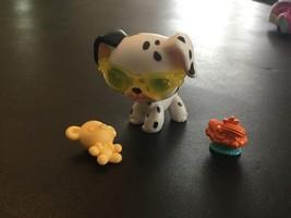 Littlest Pet Shop LPS 44 Dalmation Puppy Dog Blue Eyes Black White Acces... - $8.80