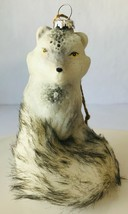 Pottery Barn Glass Silver Fox Christmas Ornament w/ Faux Fur & Clear Beads New - $14.45