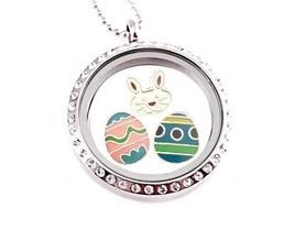 Easter Bunny Eggs 30mm Floating Charm Locket Charmed Creations Keepsake ... - $16.82