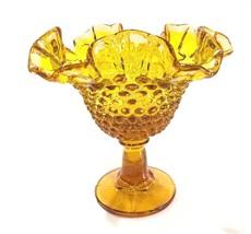 "Vintage Fenton Amber Hobnail Glass Ruffled Edge Candy Dish 6"" - $14.99"