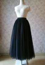Adult Long Tulle Skirt, Black Gray Polka-dots Tulle Skirt, Evening long skirts image 2
