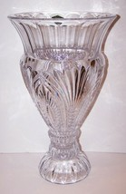 "INCREDIBLE HUGE SHANNON CRYSTAL COQUILLE SHELL EXQUISITELY CUT 16"" VASE ... - $143.54"