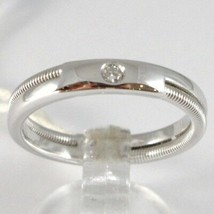 White Gold Ring 750 18K Engagement Wedding Band Diamond CT 0.03, Dual Threaded image 1
